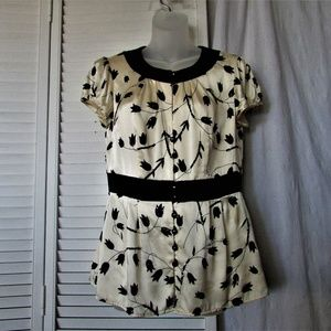 Nanette Lepore rich cream black silk blouse size 8